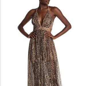Megan LA leopard Maxi Dress Size Small